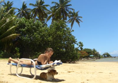 Relaxing on the beach at Coconut Grove Beachfront Cottages, Fiji
