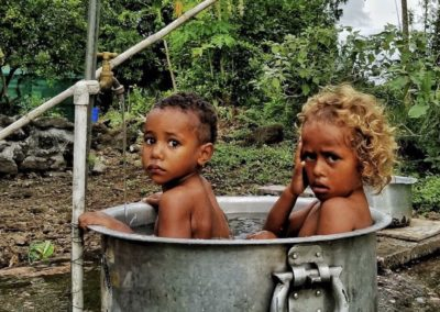 Fiji kids bath time Taveuni Style